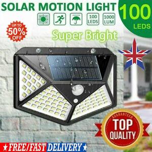 100-LED-Energia-Solare-PIR-Sensore-di-Movimento-Luce-Parete-da-giardino-Lampada-Impermeabile