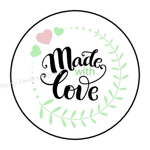 Made with love merci autocollants-blanc sceau Label Tag emballage Shop HP022