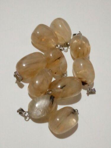 Colgante Cuarzo dorado natural piedras naturales 20 mm aprox. 1 UNIDAD