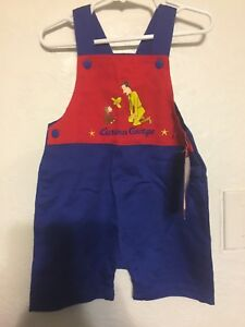 CURIOUS-GEORGE-INFANT-OVERALL-RED-NAVY-SHORTS-24-Months-Monkey-Boys-Clothes