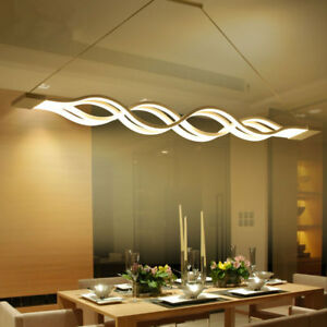 Modern Wave LED Dining Room Home Pendant Chandelier Suspended ...