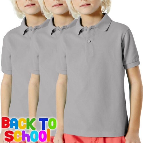2 Pack Fruit Of The Loom Childrens Polo Shirts Boys Girls School Uniform All Colours and Sizes