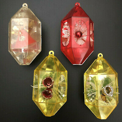 Set of 3  Atomic Jewel-Brite Ornaments mid Century  Unbreakable Angel Center two blue one red free ship