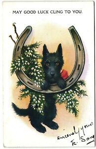 Scottie-terrier-dog-Christmas-horseshoe-Miller-amp-Lang-postcard