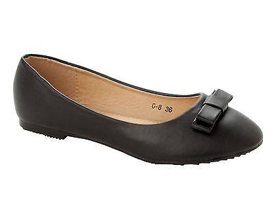 Arco Negro De Mujer Plana Dolly Ballet Bombas Zapatos Damas Escuela Oficina Trabajo Talla