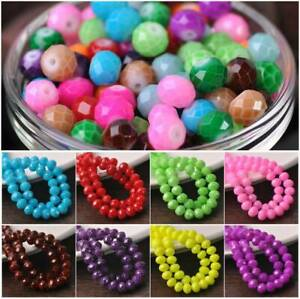 60pcs Coated Colors 8x6mm Rondelle Faceted Opaque White Glass Loose Beads lot