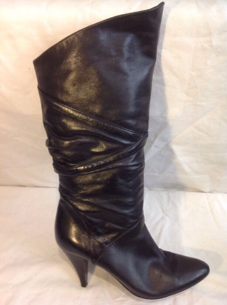 Manfield Black Mid Calf Leather Boots Size 38