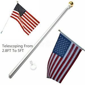 5-ft-Sectional-Aluminum-flagpole-US-American-3x5-Flag-Pole-Gold-Ball-Kit-US