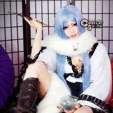 100CM Long Light Blue Lady Girl Straight ZONE-00 Kiritsubo Anime Cosplay Wig+Cap