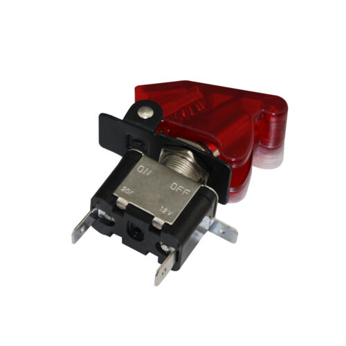 2 Pack Red LED LIT Toggle Switch Red Safety Cover Auto Car Truck ASW-07D-RED