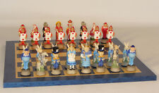 Themed Chess Set - Alice in Wonderland on Blue and Tan Board