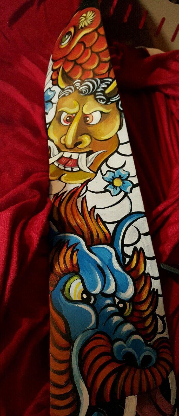 Tattoo Leder Asiatische Oni Maske Dragon Koi Verstellbar 3.5 Breit