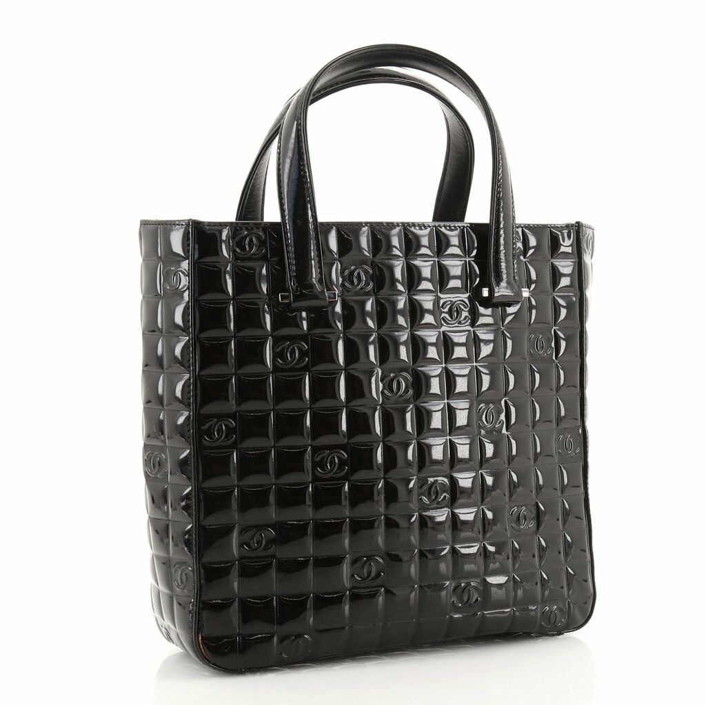 Chanel Chocolate Bar CC Tote Quilted Patent Small    eBay