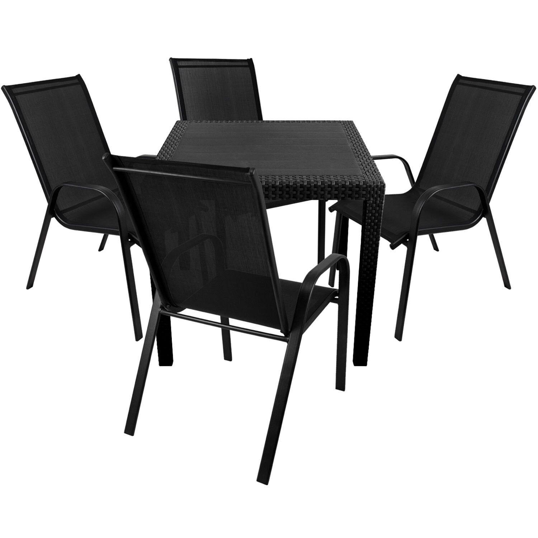 Gartenmöbel Terrassenmöbel Balkonmöbel Set Tisch 79x79 + 4x Stapelstuhl