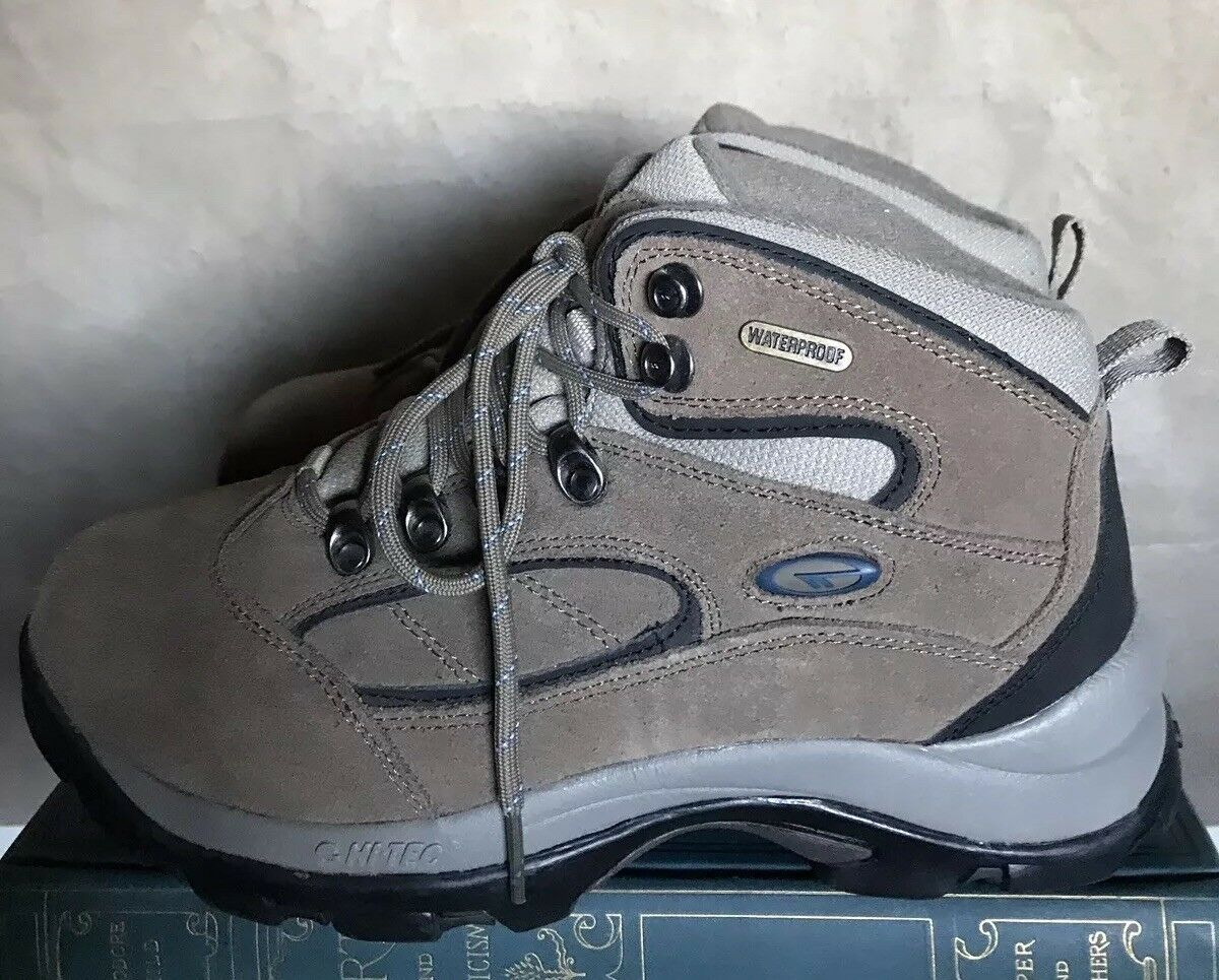 Womens 8.5 M Hi-Tec Cgoldnado Waterproof Hiking Boots Taupe Suede Leather Ankle