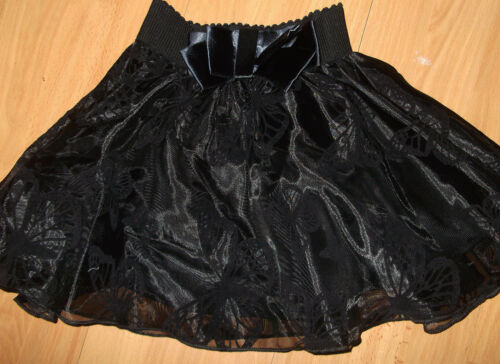 GIRLS 50s STYLE BLACK ORGANZA BUTTERFLY FLOCK PRINT FLARED PROM PARTY SKIRT