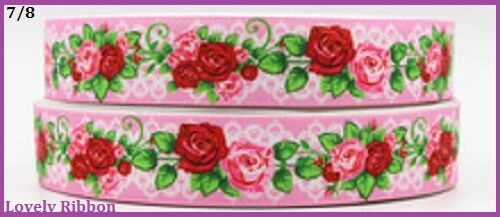 2 metre 7//8 Grosgrain Flower 22mm Lovely Ribbon Hair Bow PINK /& Red Rose