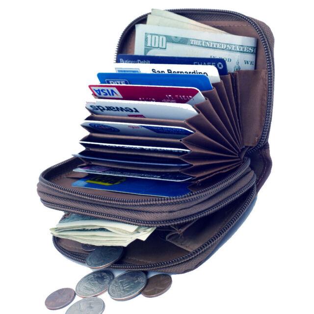 Brown Leather Women's Accordion Wallet Credit Business Card ID Holder Zip Around