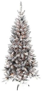 Benross-6ft-180-LED-Pre-Lit-Flock-Snow-Pine-Christmas-Tree-Warm-White-Lights