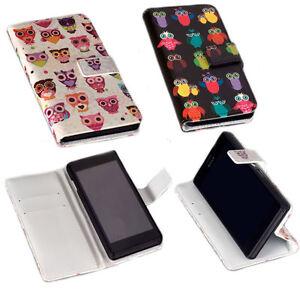 Design-Eulen-Book-Style-Handy-Tasche-Cover-Case-Huelle-Schutz-Etui-Auswahl