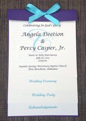 CUSTOM SAMPLE PURPLE IVORY LAYERED WEDDING PROGRAM
