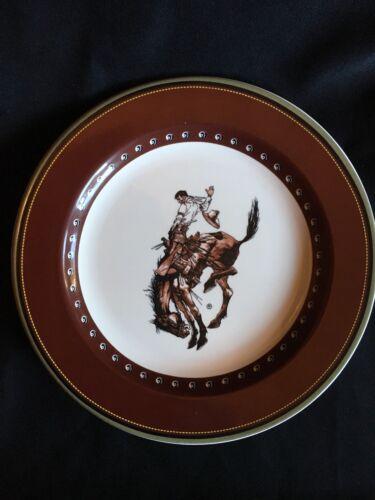 Pendleton Round up Rodeo Let /'er Buck Salad Plate Dessert Cowboy Horse Dish 4 AV