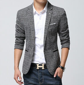 2016 Men Fashion Slim Fit Blazers Spring Coats Suit Casual Clothes ...