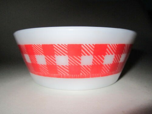 RETRO MILK GLASS FEDERAL WESTFIELD PERSONALIZED RED CHECKERED BOWL CARL