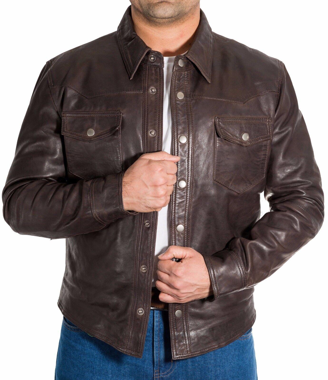 Hombre Cuero Marrón Clásico Camisa Corte Slim Stud Botones Denim Chaqueta Estilo