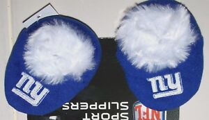 789d34b8 Details about Nwt New York Giants Football NFL Logo Slippers Shoes Booties  Blue Faux Fur Baby