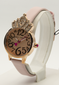 Betsey-Johnson-Women-039-s-Crystal-Crown-Rose-Gold-Tone-Watch-BJ00663-02BX-New