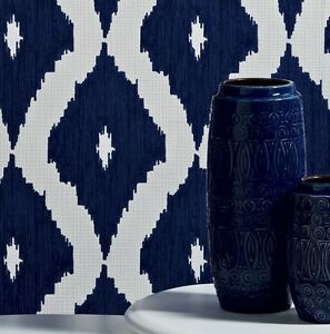Kelly Hoppen Navyroyal Blue And White Ikat Linen Look Wallpaper