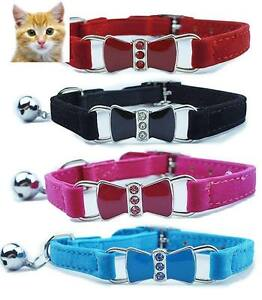 Cat-Safety-Collar-Pet-Suede-Bow-Tie-Red-Blue-Pink-Black-amp-Purple-30cm