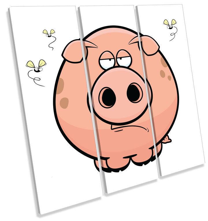 Cartoon Pig Kids Room TREBLE CANVAS WALL ART Square Picture Print