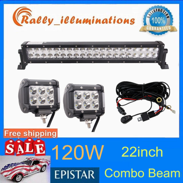 "22inch 120w Led Light Bar Combo+4"" 18W CREE Spot Driving Pods Offroad+Wiring kit"