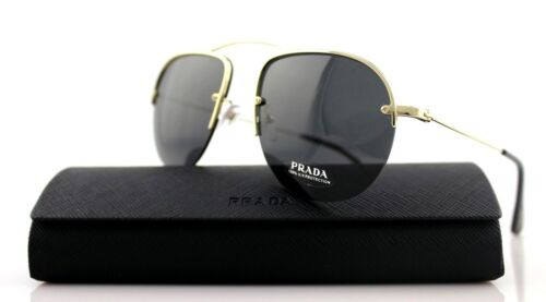 RARE New Authentic PRADA TEDDY Pale Gold Grey Sunglasses SPR 58O ZVN5S0 PR 58OS