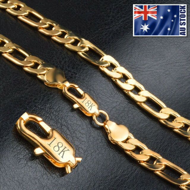 """18K Yellow Gold Plated 8MM Classic Solid Curb Figaro Chain Necklace 20"""" Unisex"""