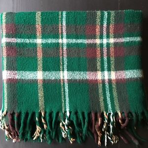 Vintage Farbio Plaid Blanket Stadium Green Brown Tan Fringe