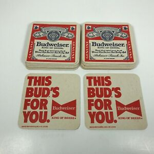 20-Vintage-Budweiser-Beer-Coasters-Cardboard-This-Buds-For-You-Bar-Anheuser