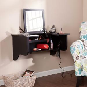 Image Is Loading Floating Vanity Mirror Makeup Station Desk Shelf Top