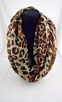 Animal Print Infinity Scarf Cheetah Leopard Print Brown Beige