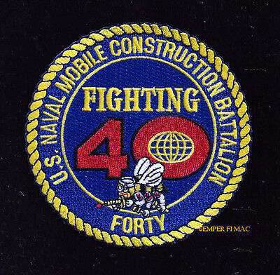 NMCB 40 Fighting FORTY PATCH PIN UP US NAVY SEABEE Mobile Construction Battalion