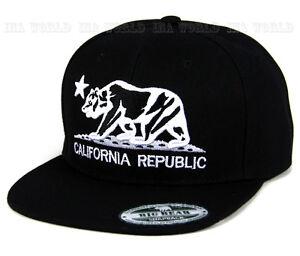 California-Republic-Hat-Bear-Logo-Snapback-Flat-Brim-Baseball-Cap-Black-White