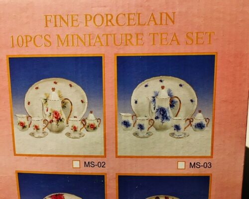 10 pcs Imported Fine Porcelain Collectible Miniature Tea Set with Pink Roses