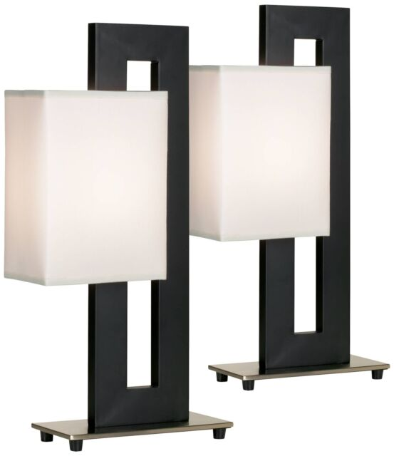 Modern Table Lamp Set of 2 Black Floating Square for Living Room - Lamps  Plus