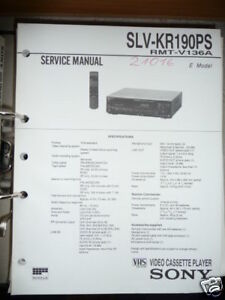Tv, Video & Audio Service Manual Sony Slv-kr190ps Video Recorder,original Modische Muster