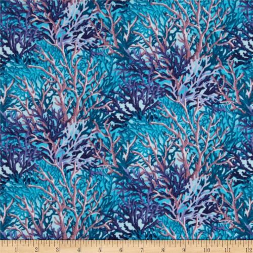 Fat Quarter Coral Sea Coral Multi Coloured Cotton Quilting Fabric 50 x 55cm