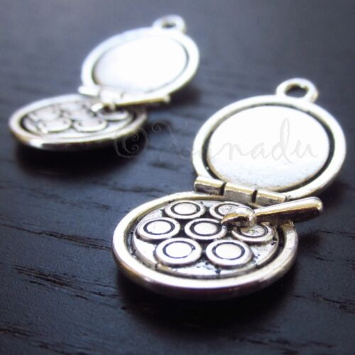 5 Or 10PCs Makeup Mirror Antiqued Silver Plated Charm Pendants C4620-2
