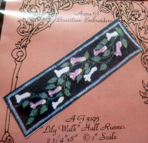 """NEW DOLL HOUSE RUG """"LILY WALK"""" Runner Anna G Brazilian Embroidery Stamped Linen"""