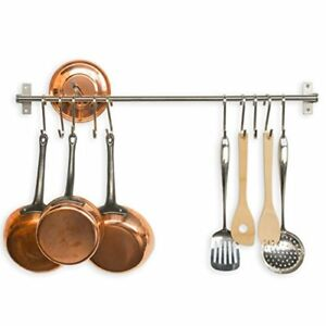 Details about Pot And Pan Rack Wall Mount Organizer Rail System Hanging  Kitchen 10 Hook Holder